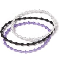 3 Set Hair Tie Set GLITTER black-purple-silver